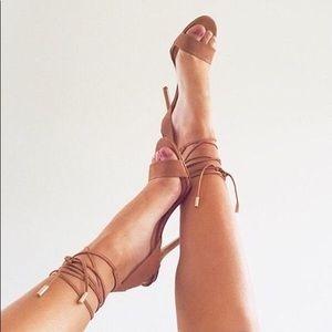 Aldo Casarolo Cognac Nubuck Lace Up Heels